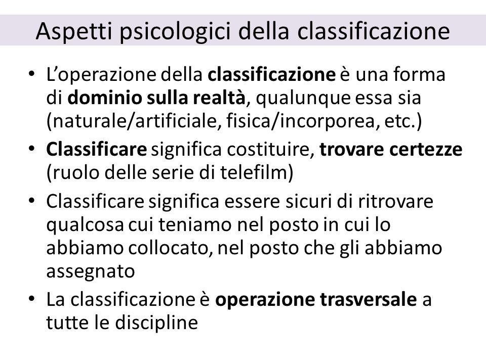 Aspetti psicologici della classificazione