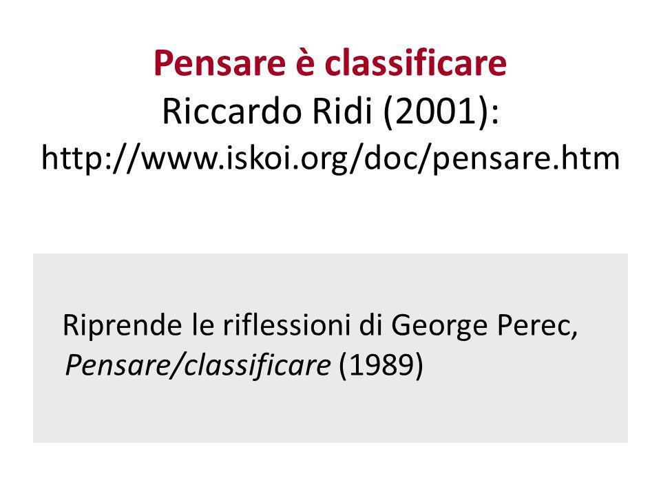 Pensare è classificare Riccardo Ridi (2001): http://www. iskoi