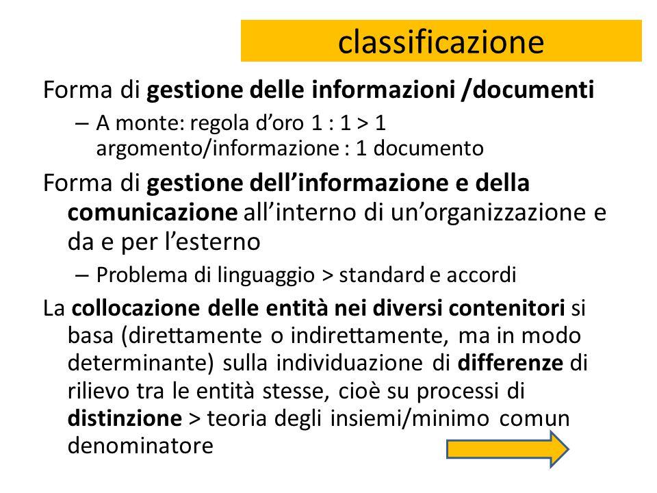 classificazione Forma di gestione delle informazioni /documenti