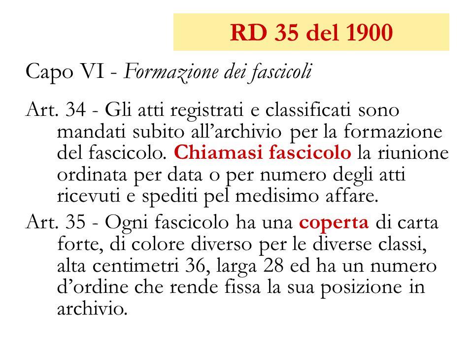 RD 35 del 1900 Capo VI - Formazione dei fascicoli