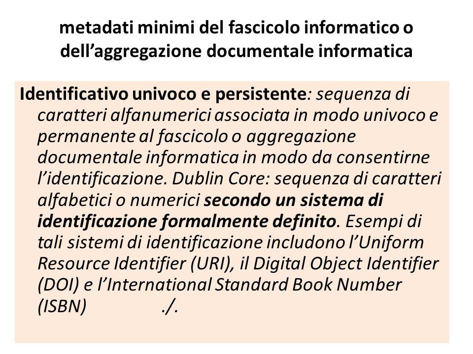 metadati minimi del fascicolo informatico o dell'aggregazione documentale informatica