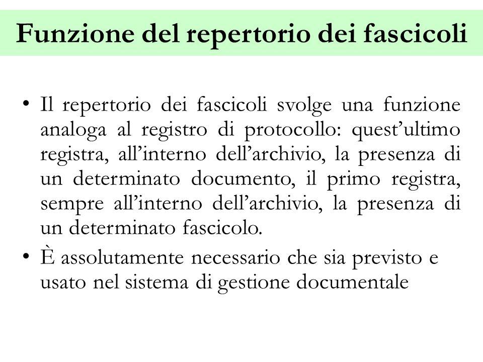 Funzione del repertorio dei fascicoli