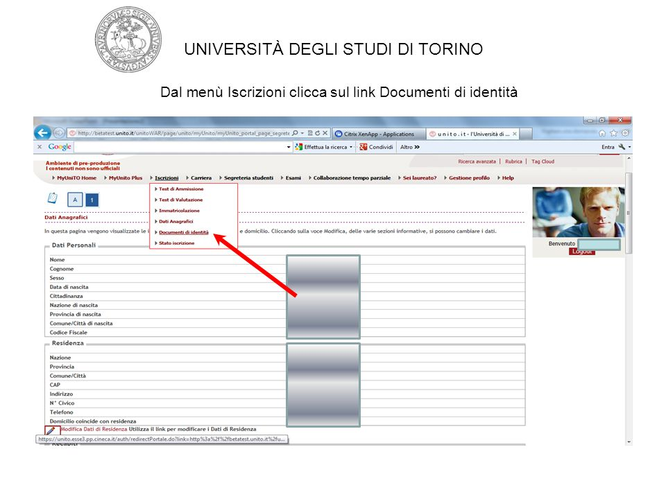 Dal menù Iscrizioni clicca sul link Documenti di identità
