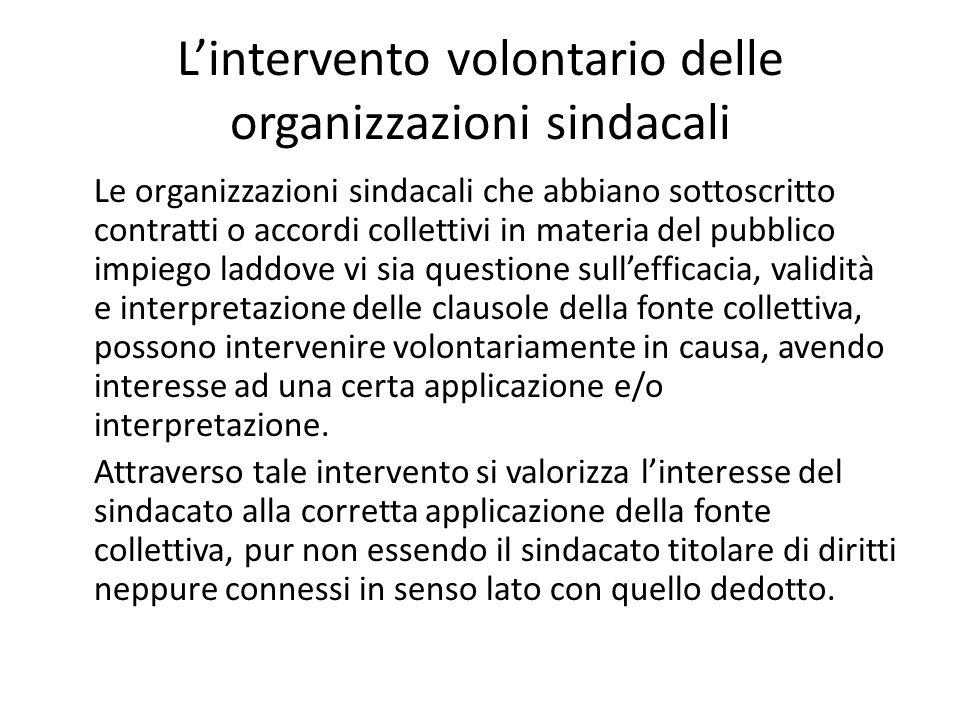L'intervento volontario delle organizzazioni sindacali