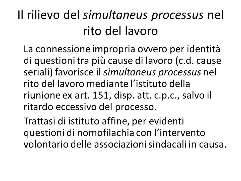 Il rilievo del simultaneus processus nel rito del lavoro