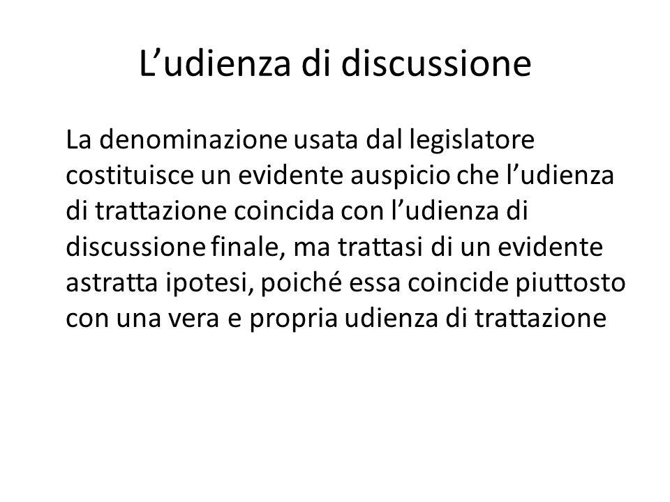 L'udienza di discussione