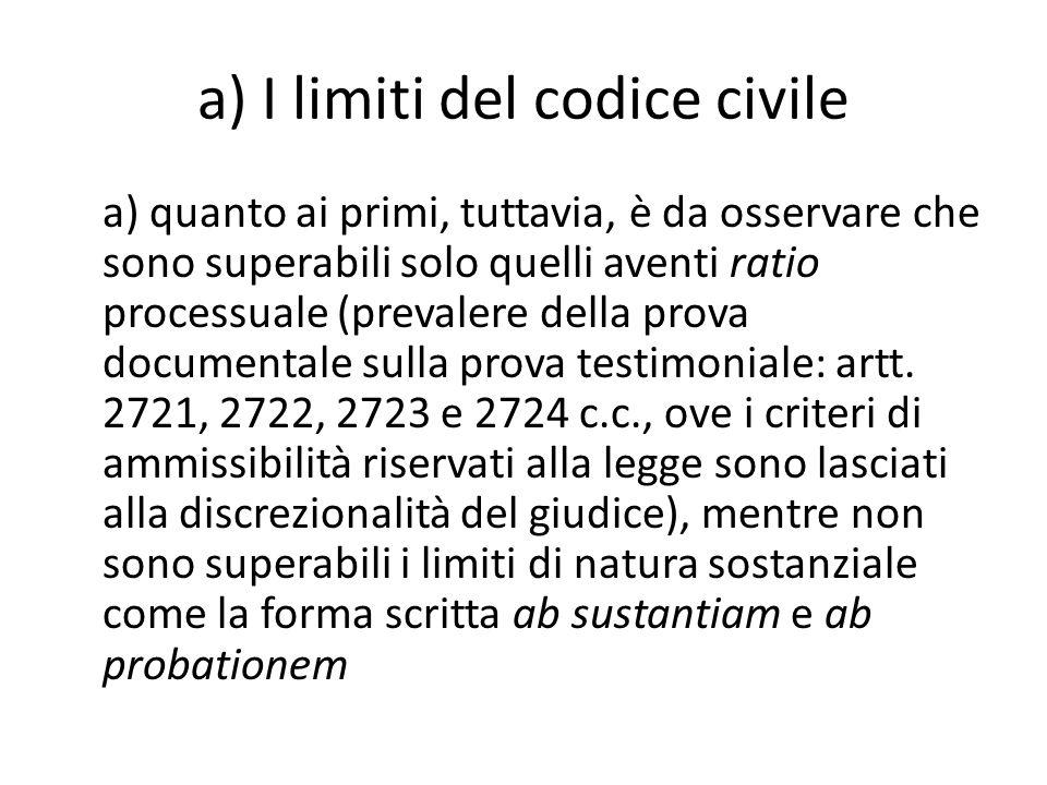 a) I limiti del codice civile
