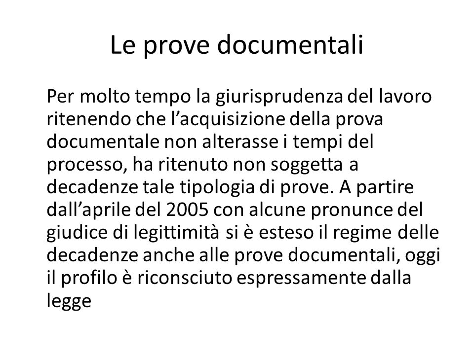 Le prove documentali