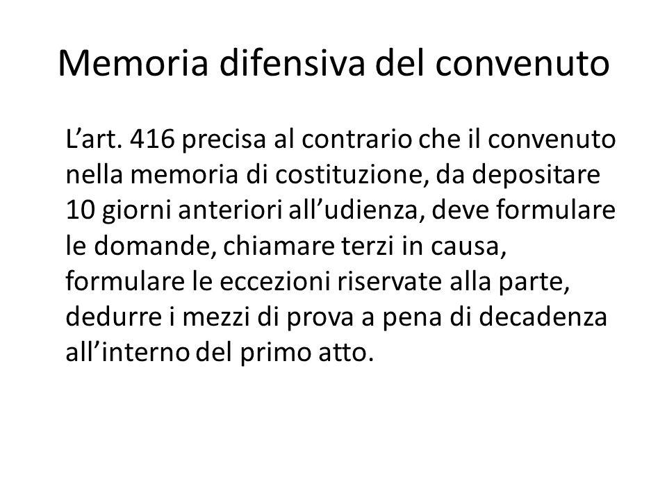 Memoria difensiva del convenuto