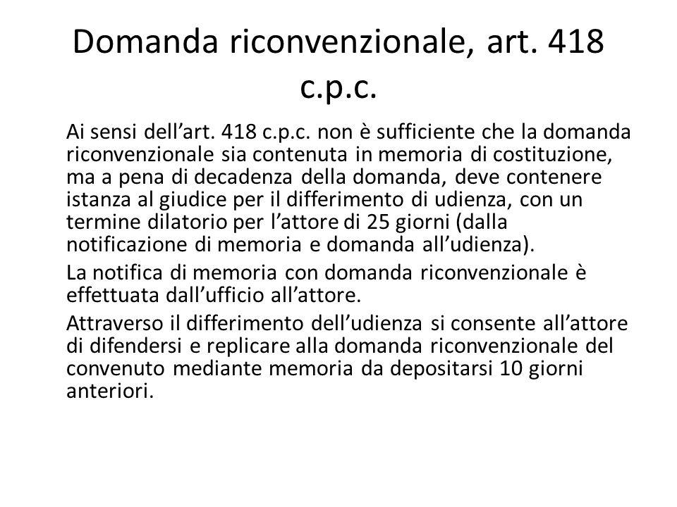 Domanda riconvenzionale, art. 418 c.p.c.