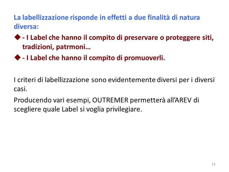 La labellizzazione risponde in effetti a due finalità di natura diversa: