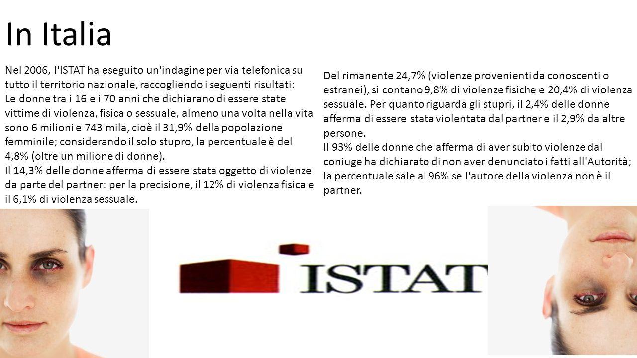In Italia Nel 2006, l ISTAT ha eseguito un indagine per via telefonica su tutto il territorio nazionale, raccogliendo i seguenti risultati: