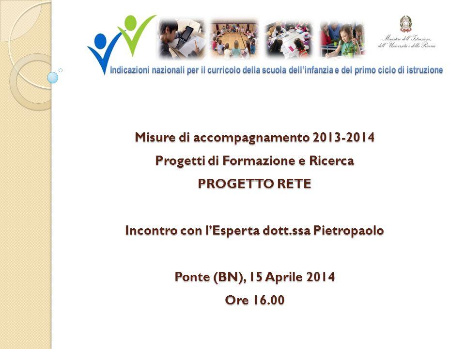 Misure di accompagnamento 2013-2014 Progetti di Formazione e Ricerca PROGETTO RETE Incontro con l'Esperta dott.ssa Pietropaolo Ponte (BN), 15 Aprile 2014 Ore 16.00