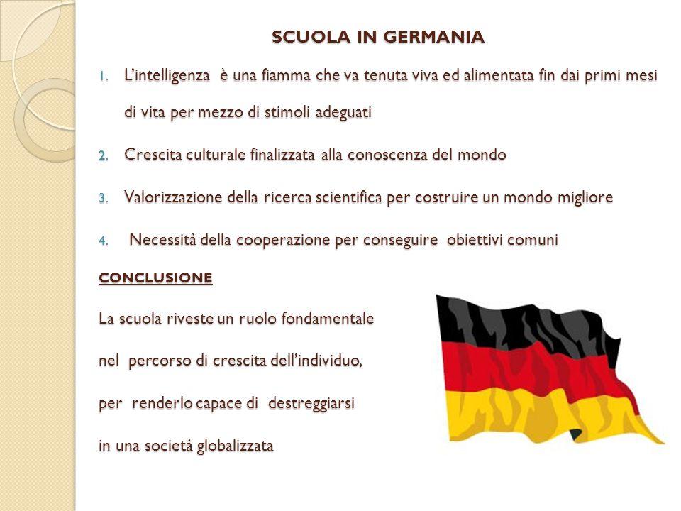 SCUOLA IN GERMANIA L'intelligenza è una fiamma che va tenuta viva ed alimentata fin dai primi mesi di vita per mezzo di stimoli adeguati.