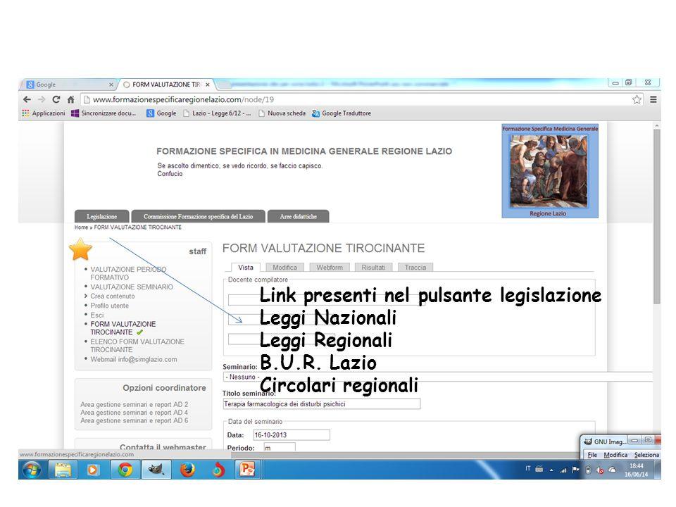 Link presenti nel pulsante legislazione Leggi Nazionali