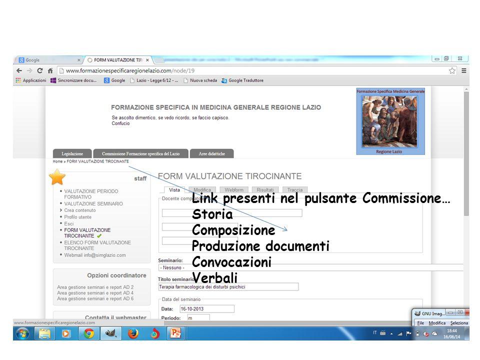 Link presenti nel pulsante Commissione… Storia Composizione