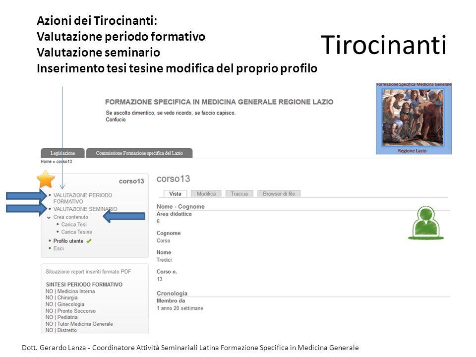 Tirocinanti Azioni dei Tirocinanti: Valutazione periodo formativo