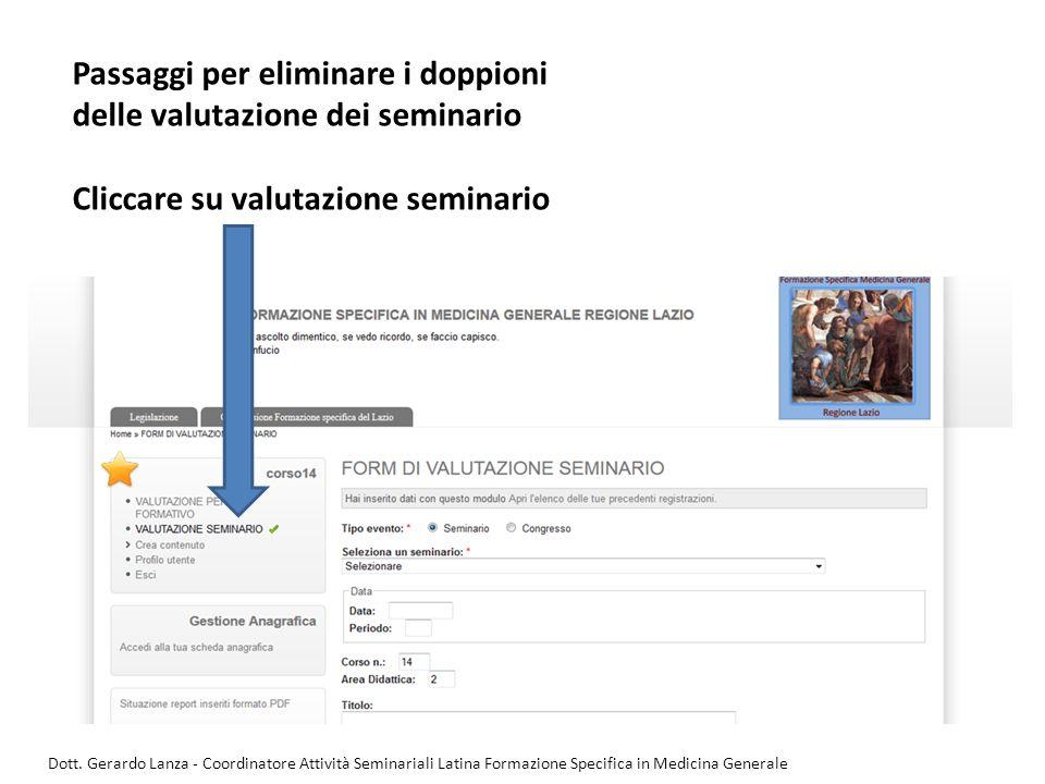 Passaggi per eliminare i doppioni delle valutazione dei seminario