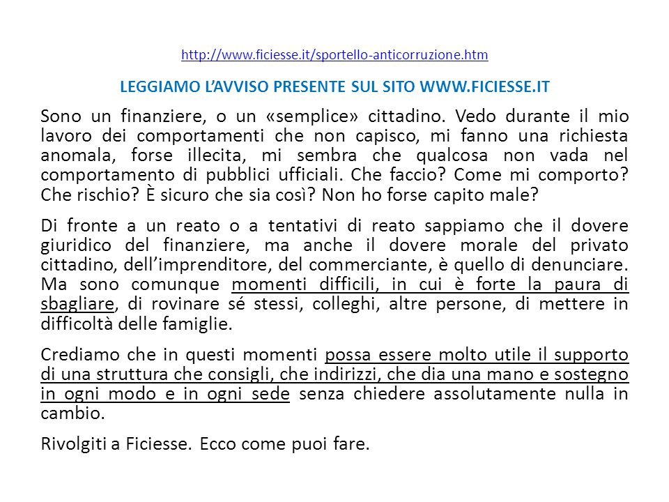 LEGGIAMO L'AVVISO PRESENTE SUL SITO WWW.FICIESSE.IT