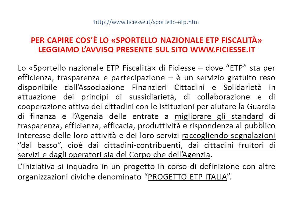 PER CAPIRE COS'È LO «SPORTELLO NAZIONALE ETP FISCALITÀ»
