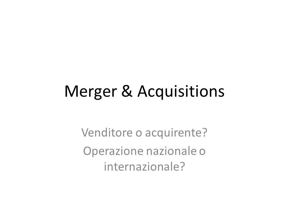 Venditore o acquirente Operazione nazionale o internazionale