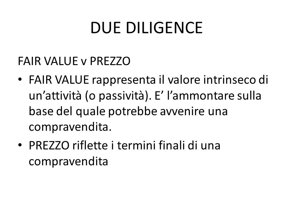 DUE DILIGENCE FAIR VALUE v PREZZO