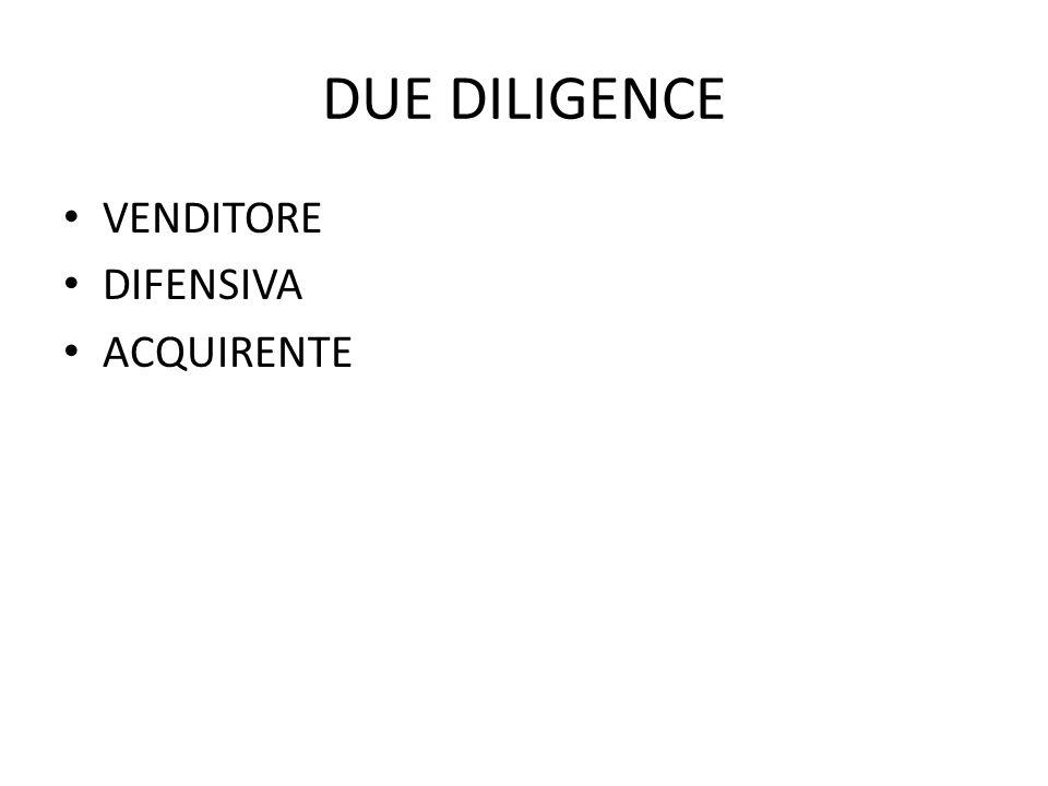 DUE DILIGENCE VENDITORE DIFENSIVA ACQUIRENTE