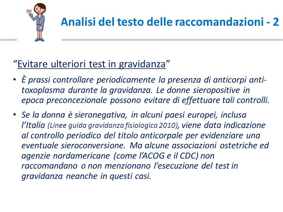 Analisi del testo delle raccomandazioni - 2