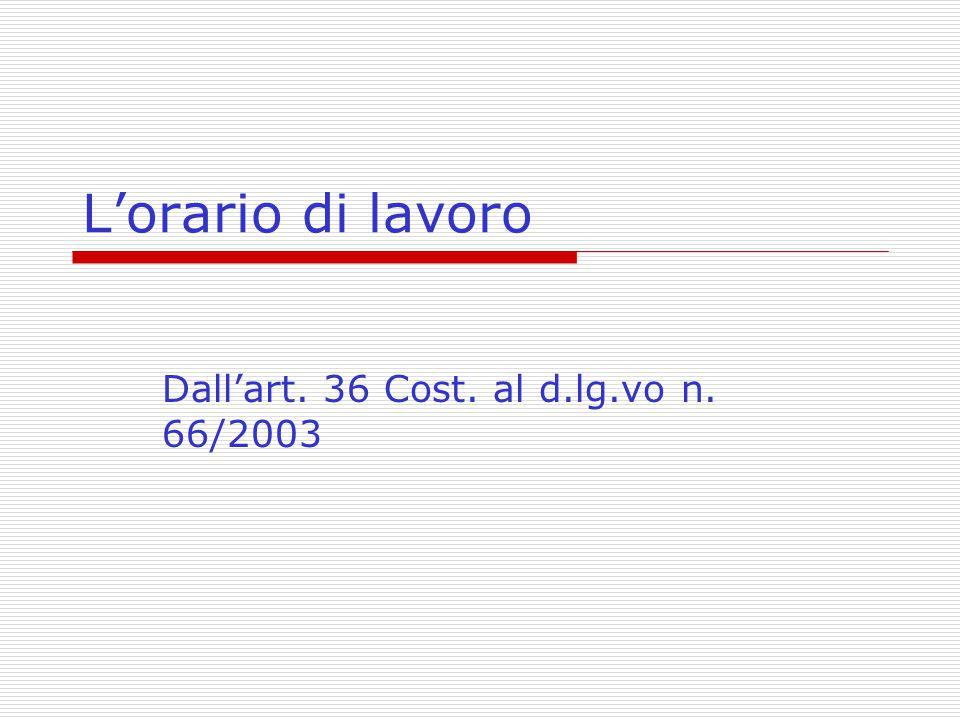 Dall'art. 36 Cost. al d.lg.vo n. 66/2003