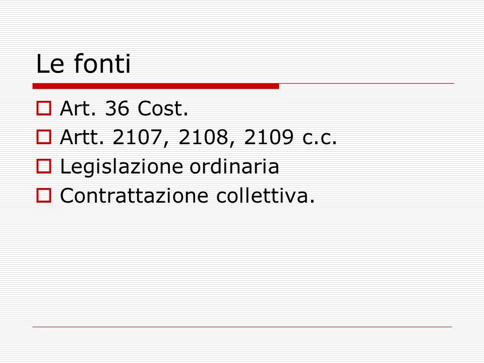 Le fonti Art. 36 Cost. Artt. 2107, 2108, 2109 c.c.