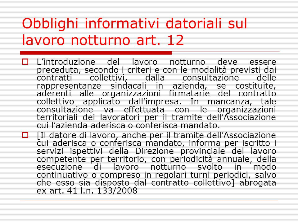 Obblighi informativi datoriali sul lavoro notturno art. 12
