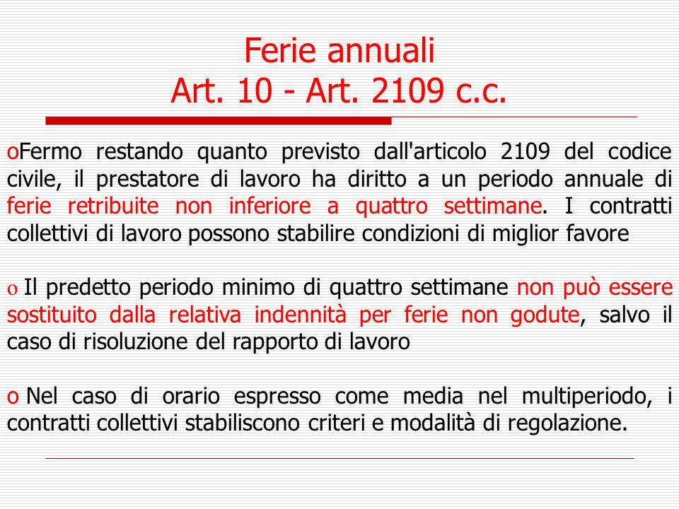 Ferie annuali Art. 10 - Art. 2109 c.c.