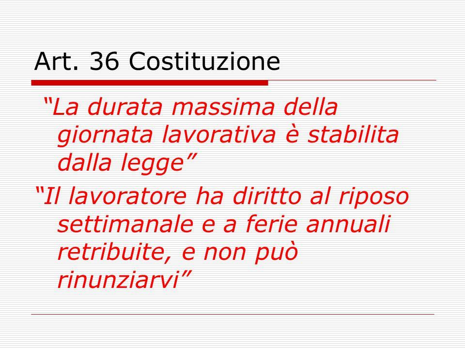 Art. 36 Costituzione La durata massima della giornata lavorativa è stabilita dalla legge