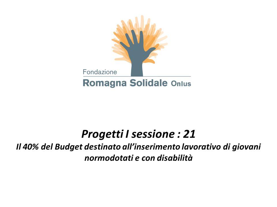 Progetti I sessione : 21 Il 40% del Budget destinato all'inserimento lavorativo di giovani normodotati e con disabilità.