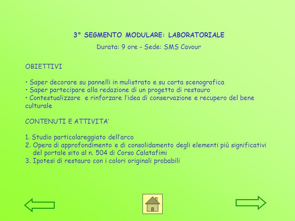 3° SEGMENTO MODULARE: LABORATORIALE Durata: 9 ore - Sede: SMS Cavour