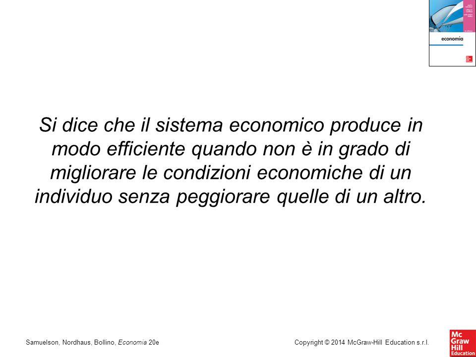 Si dice che il sistema economico produce in modo efficiente quando non è in grado di migliorare le condizioni economiche di un individuo senza peggiorare quelle di un altro.