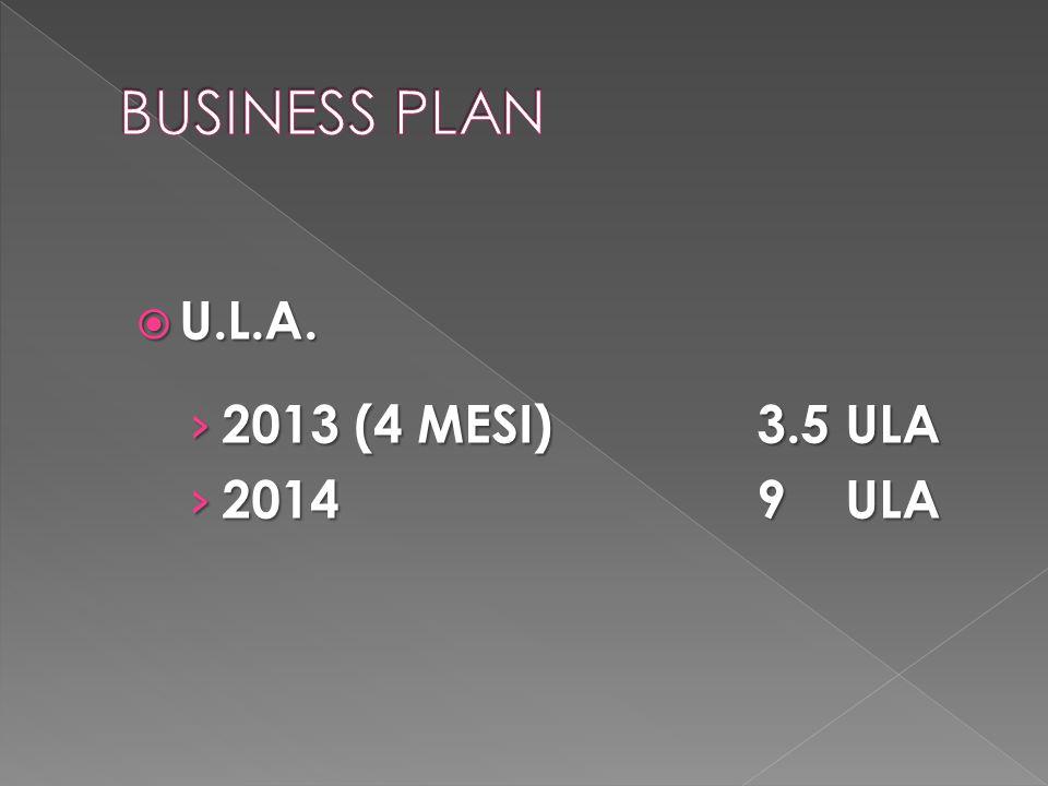BUSINESS PLAN U.L.A. 2013 (4 MESI) 3.5 ULA 2014 9 ULA