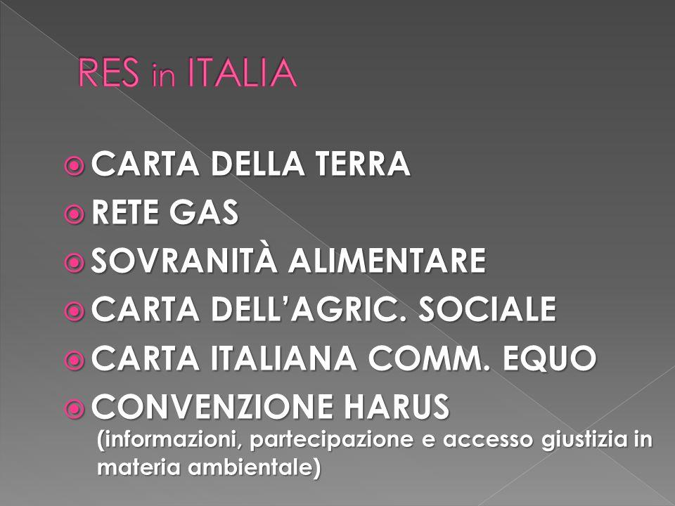 RES in ITALIA CARTA DELLA TERRA RETE GAS SOVRANITÀ ALIMENTARE