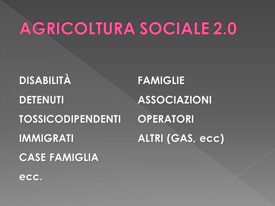 AGRICOLTURA SOCIALE 2.0 DISABILITÀ FAMIGLIE DETENUTI ASSOCIAZIONI