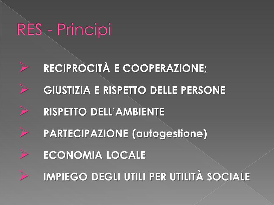 RES - Principi RECIPROCITÀ E COOPERAZIONE;