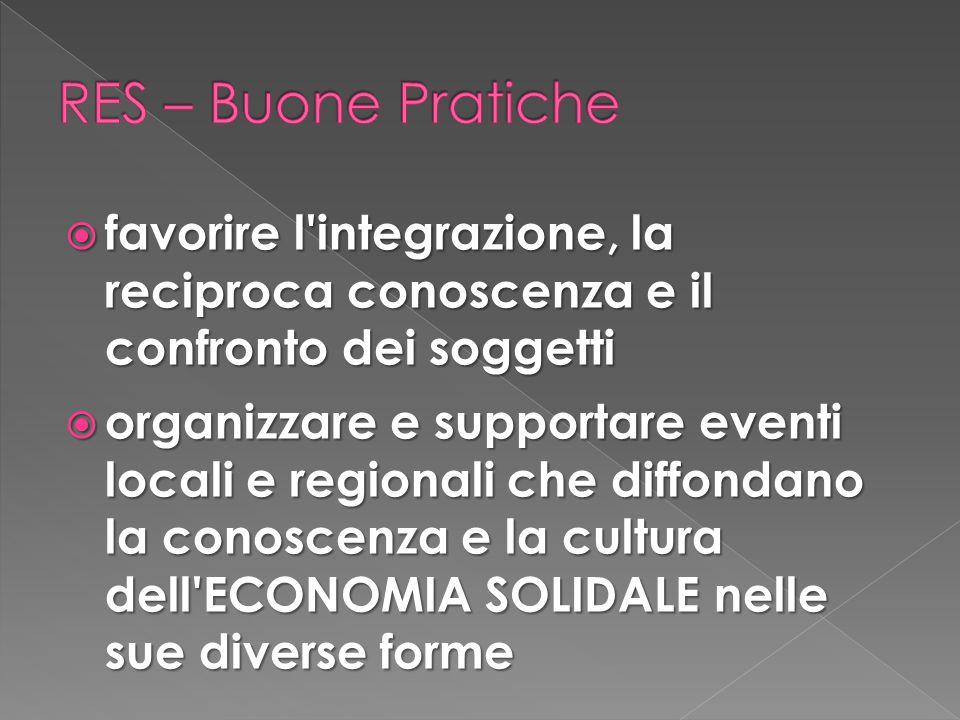 RES – Buone Pratiche favorire l integrazione, la reciproca conoscenza e il confronto dei soggetti.