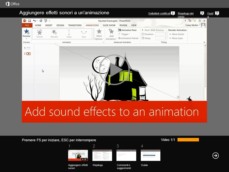 Aggiungere effetti sonori a un animazione
