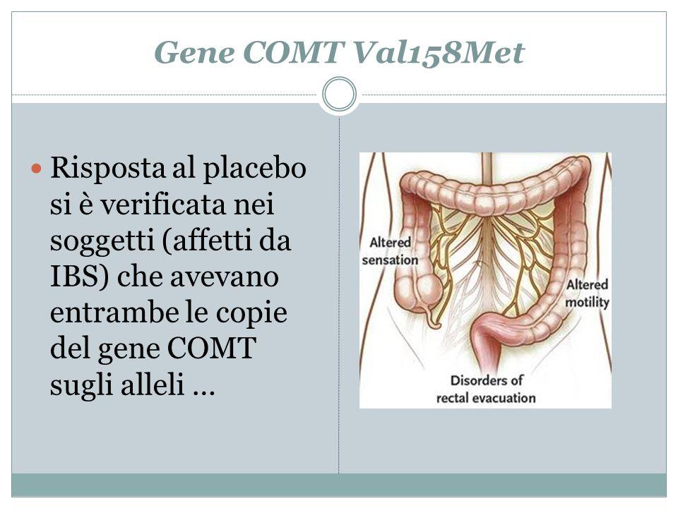 Gene COMT Val158Met Risposta al placebo si è verificata nei soggetti (affetti da IBS) che avevano entrambe le copie del gene COMT sugli alleli …