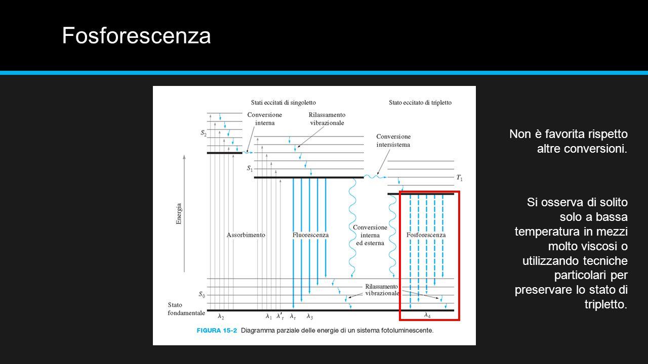 Fosforescenza Non è favorita rispetto altre conversioni.