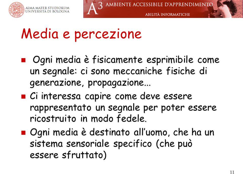 Media e percezione Ogni media è fisicamente esprimibile come un segnale: ci sono meccaniche fisiche di generazione, propagazione...