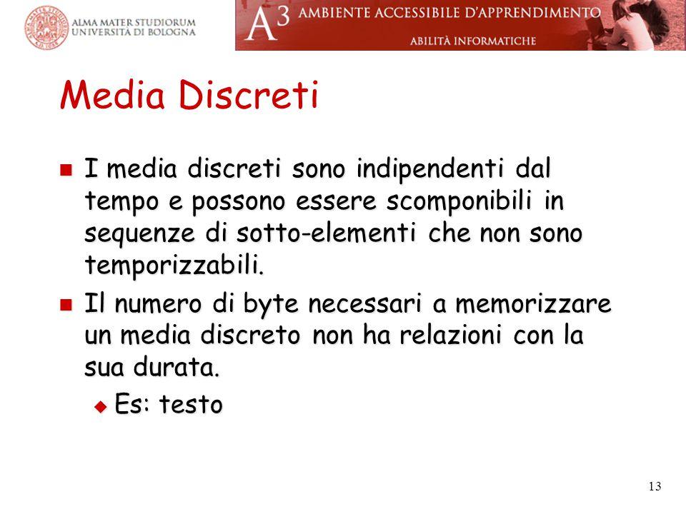 Media Discreti I media discreti sono indipendenti dal tempo e possono essere scomponibili in sequenze di sotto-elementi che non sono temporizzabili.