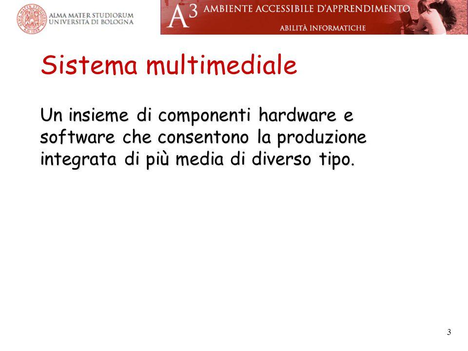 Sistema multimediale Un insieme di componenti hardware e software che consentono la produzione integrata di più media di diverso tipo.