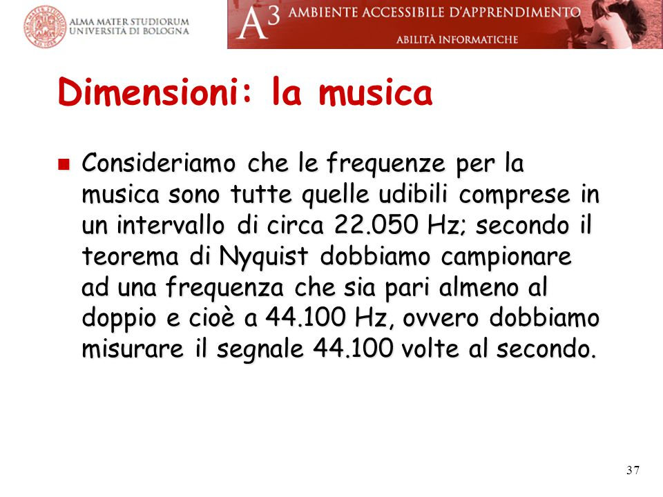 Dimensioni: la musica