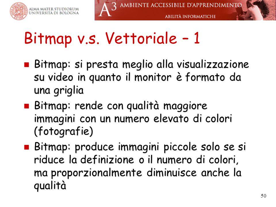 Bitmap v.s. Vettoriale – 1 Bitmap: si presta meglio alla visualizzazione su video in quanto il monitor è formato da una griglia.