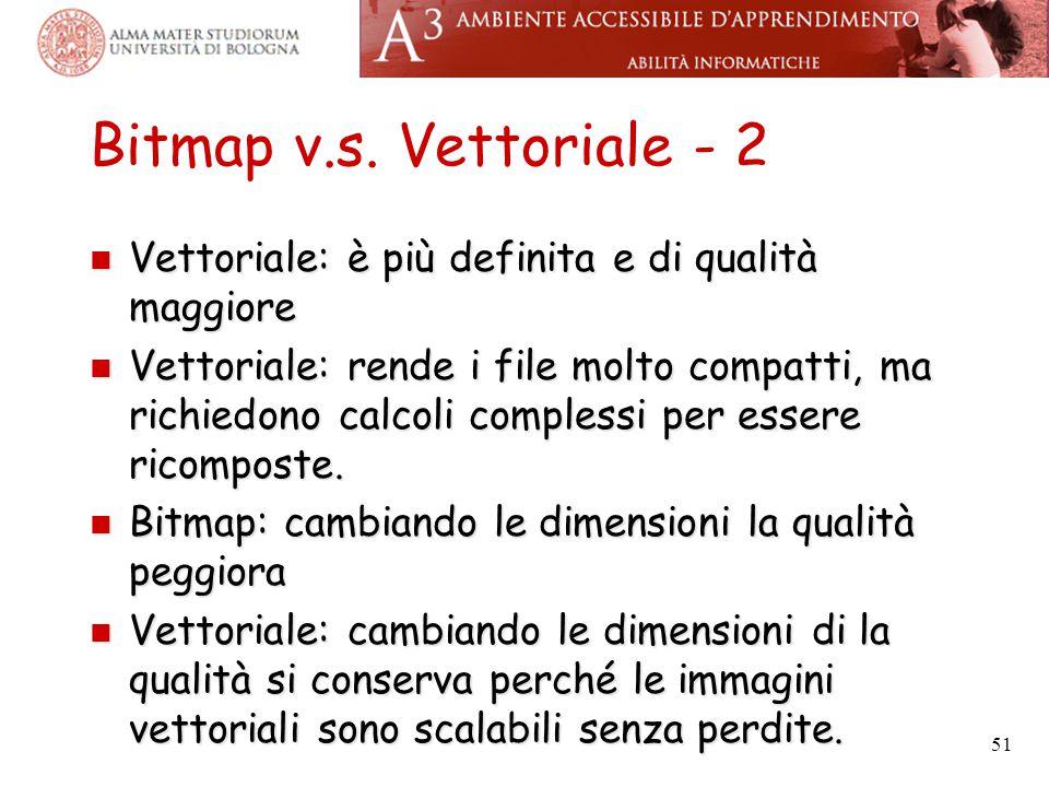 Bitmap v.s. Vettoriale - 2 Vettoriale: è più definita e di qualità maggiore.